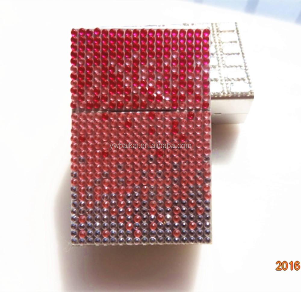 حجر الراين تصميم مقدما السجائر حالة الفولاذ المقاوم للصدأ
