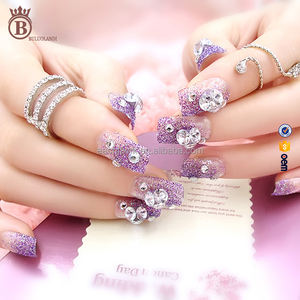 Hot Selling Bride Wedding Fashion Rhinestone Glitter Fake Nail Tips
