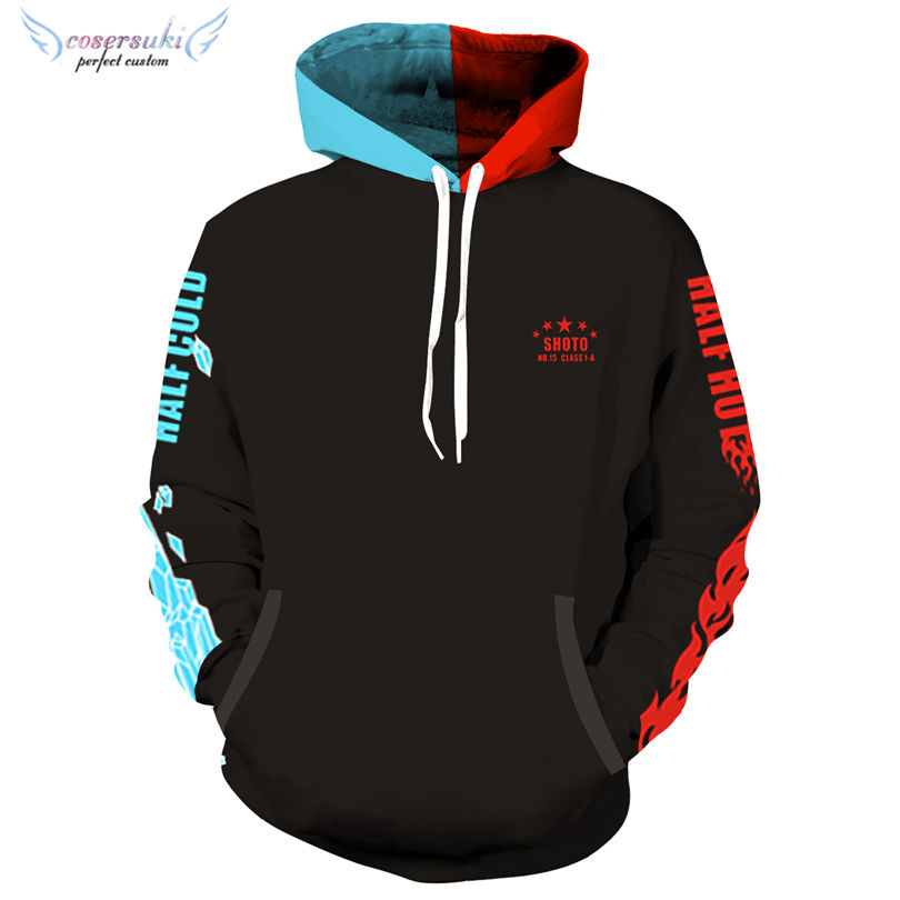 Mein Hero Wissenschaft anime Todoroki Shouto <span class=keywords><strong>Cosplay</strong></span> <span class=keywords><strong>Halloween</strong></span> Karneval hoody kostüm party hoody