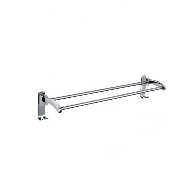 LQS SUS 304 Double Towel Bar Holder With Hooks