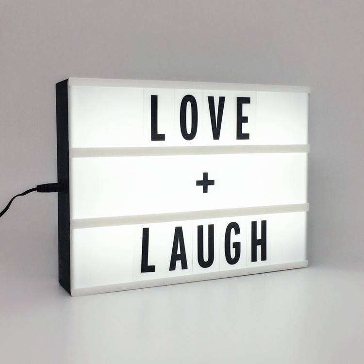 High Quality USB A4 Size Cinematic LED Light Box Marquee Mini Signage Emoji Cinema LightBox With Changeable Letters