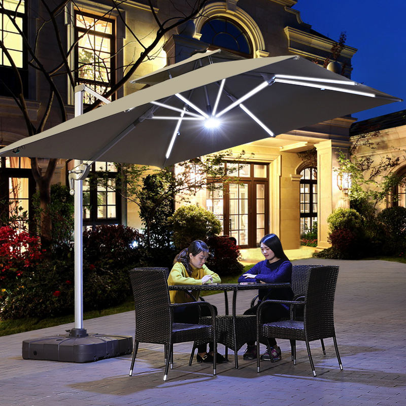 Outdoor Patio Umbrella Offset Big Square Cantilever Umbrella 3m With LED Light For Garden Bench Umbrella Yard Parasol