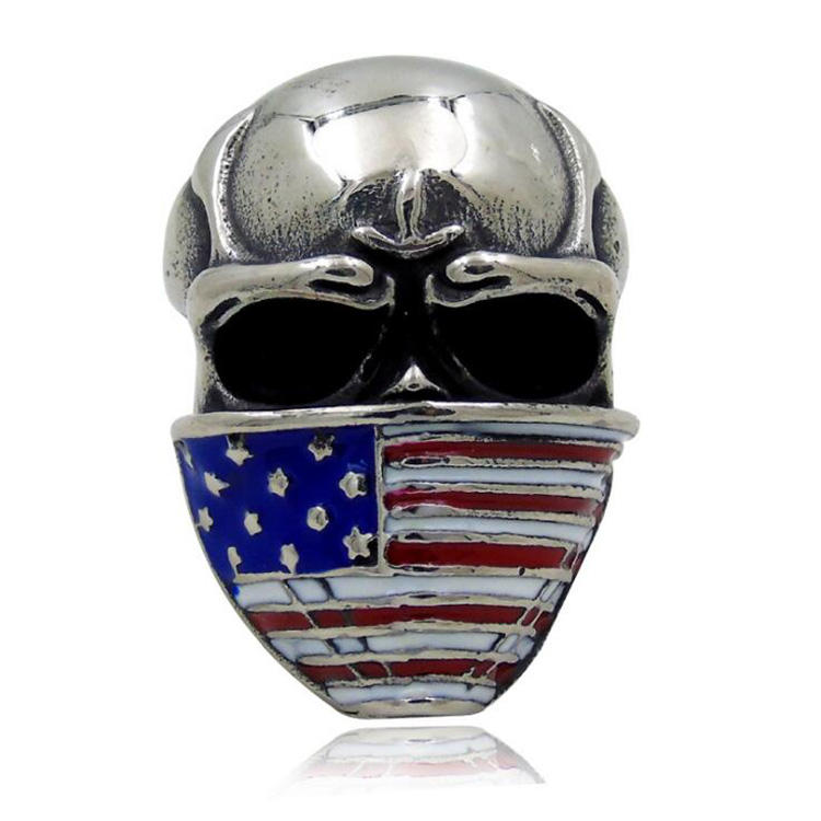 Wholesale Latest Design Men Jewelry Vintage Antique Silver Plated Enamel American Flag Warrior Helmet Ring