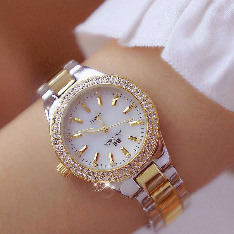 Luxury Crystal Women Dress Watch Fashion Rose Gold Quartz Watches Female Stainless Steel Ladies Wristwatches