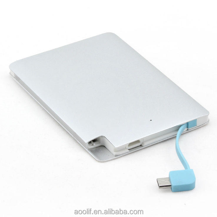 Kartu Kredit Power Bank 2200 MAh/Built-In Kabel Micro USB Powerbank Promosi Mobile Power Supply