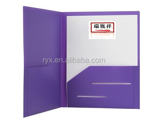 Heavy Duty Plastic 2 Pocket Folder For Letter Size Papers Includes Business Card Slot