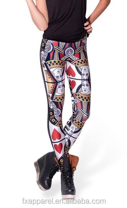 Q naipe corazón rojo de gran tamaño S-4XL leggings moda leggings pantalones