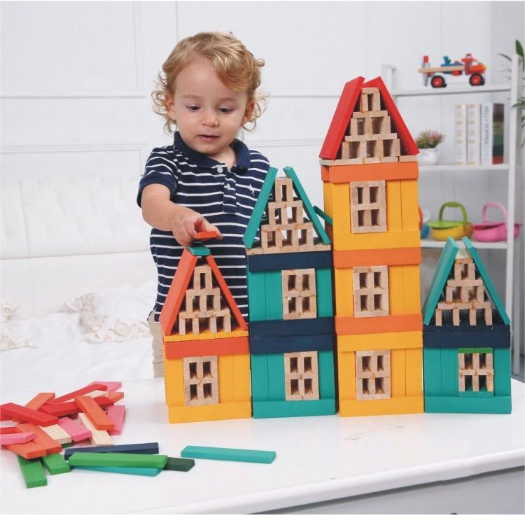creative diy kids learning and playing educational toy Colorful Printing Wooden Building Blocks