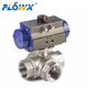 italy NPT BSPT G Threaded SS316 Pneumatic control Stainless steel 3 way ball Valve