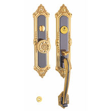 Luxury Italian Gold Brass Antique Door Pull Handle Interior With Lock