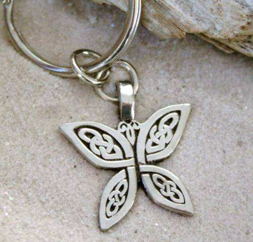 KNOT BUTTERFLY key chain SILVER Pewter butterfly KEYCHAIN