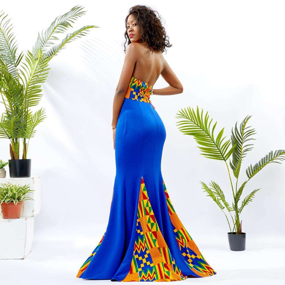2019 Shenbolen High Quality African Kente Wedding Bridal Dress Jersey Maxi Evening Mermaid Dress For Ladies