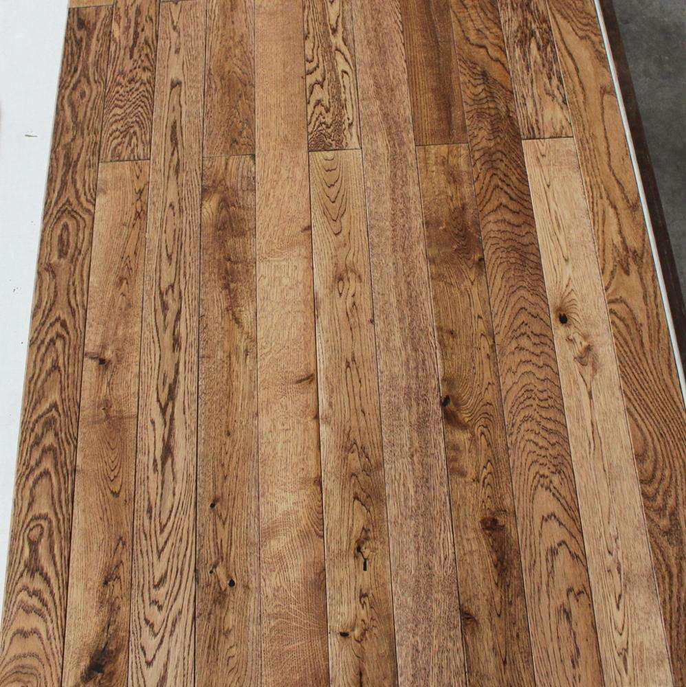 Smooth Grey Color Solid Chinese oak hardwood timber flooring