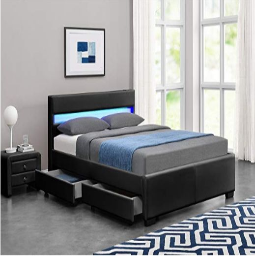 Modern wooden PU leather bed frames Murphy with speakers