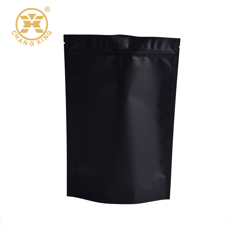 Stand up matte black pouch bag for coffee or tea packaging