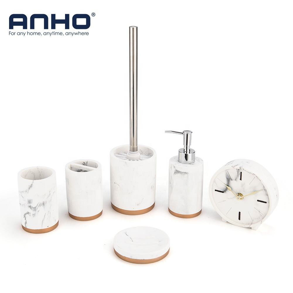 Anho Hot Sale Polyresin Six/pcs Bathroom Accessories With Soap Dispenser Soap Dish