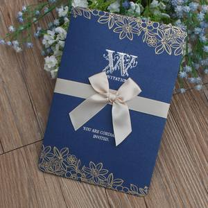ChenFan fashion new fashion style printing wedding invitations cards with ribbons and lace and custom print