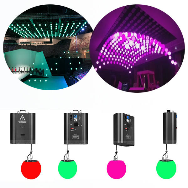 Factory price nightclub lights rgb led lifting ball dmx winch kinetic lifting ball light gold disco ball