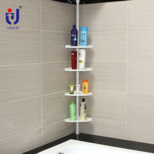 4 tier white plastic floating bathroom corner storage shelves