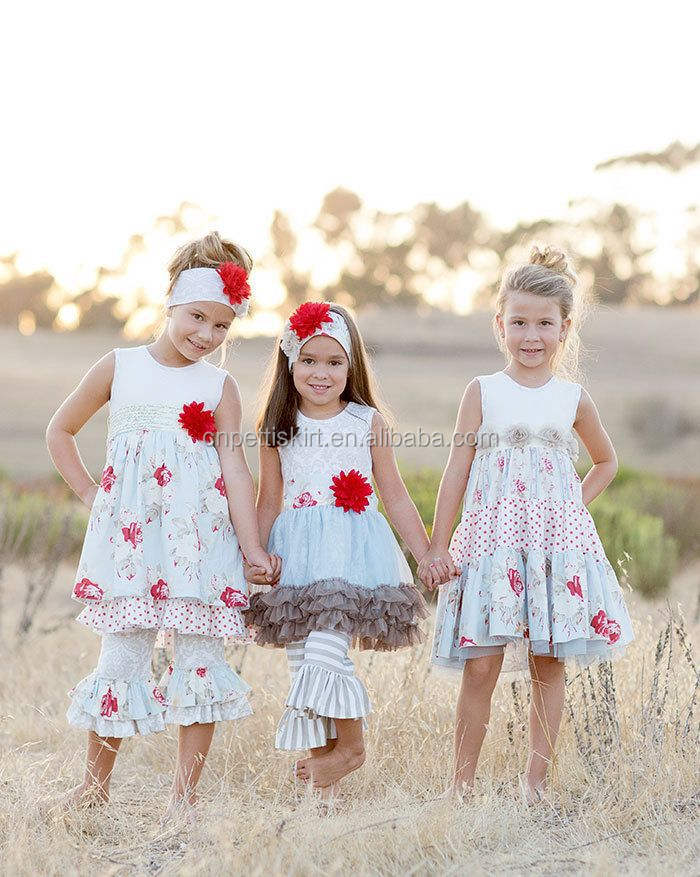 Sisters clothing set Happy & Joyful set by Giggle Moon floral print girls dresses baby girl boutique sets newborn baby clothing