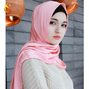 Wholesale custom muslim hijab scarves Arab plain long scarf 100% polyester solid women head cover