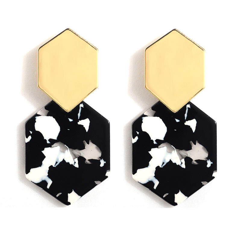 Simple hexagonal metal earrings geometric acrylic pendant acetate plate long earrings women