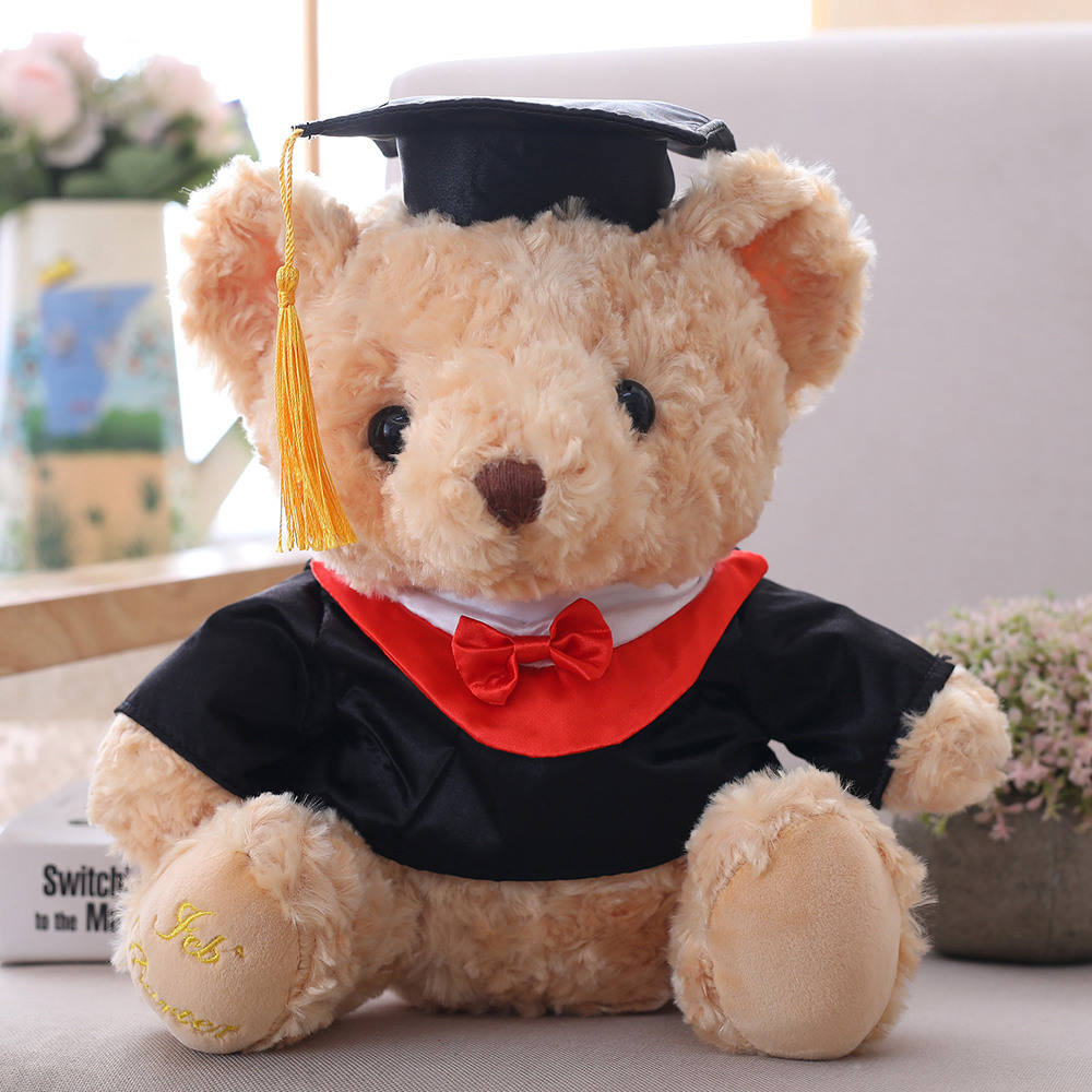 GRAVIM wholesale 28cm H silk bow tie bear graduation bears and T shirt teddy