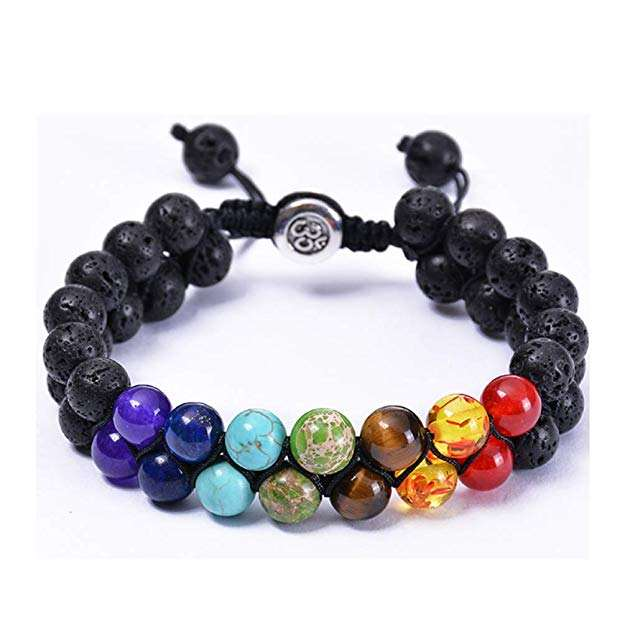 New Arrived Gemstone 7 Charka Natural Stone Energy Oil Diffuser Stone Adjustable Bracelet