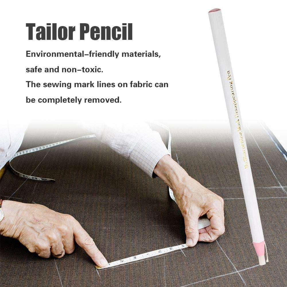 Tailor Mark Pencil Fabric Invisible Erasable Chalk Free Sewing Marker Tracing Pencil Marking Tools for Cloth Leather, Pack of 12