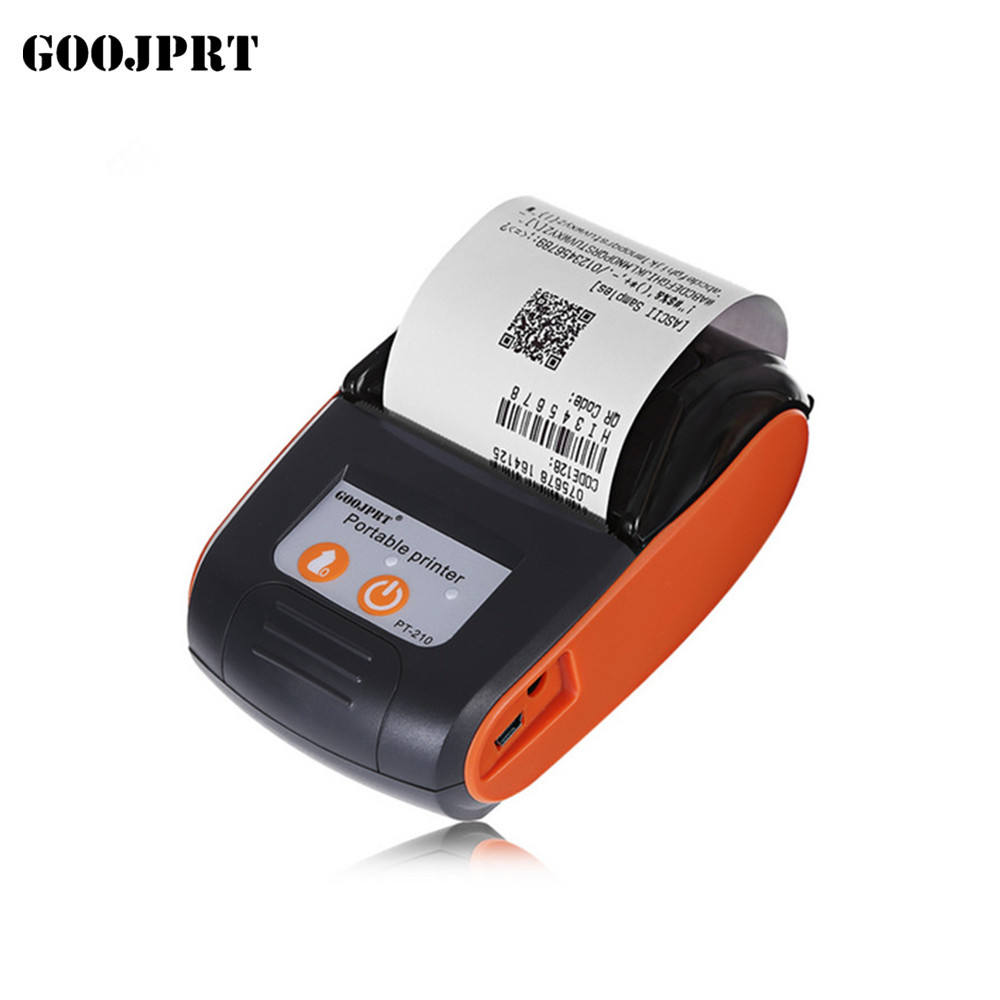 58mm mini portable thermal printer with battery Goojprt pt-210 Barcode printers