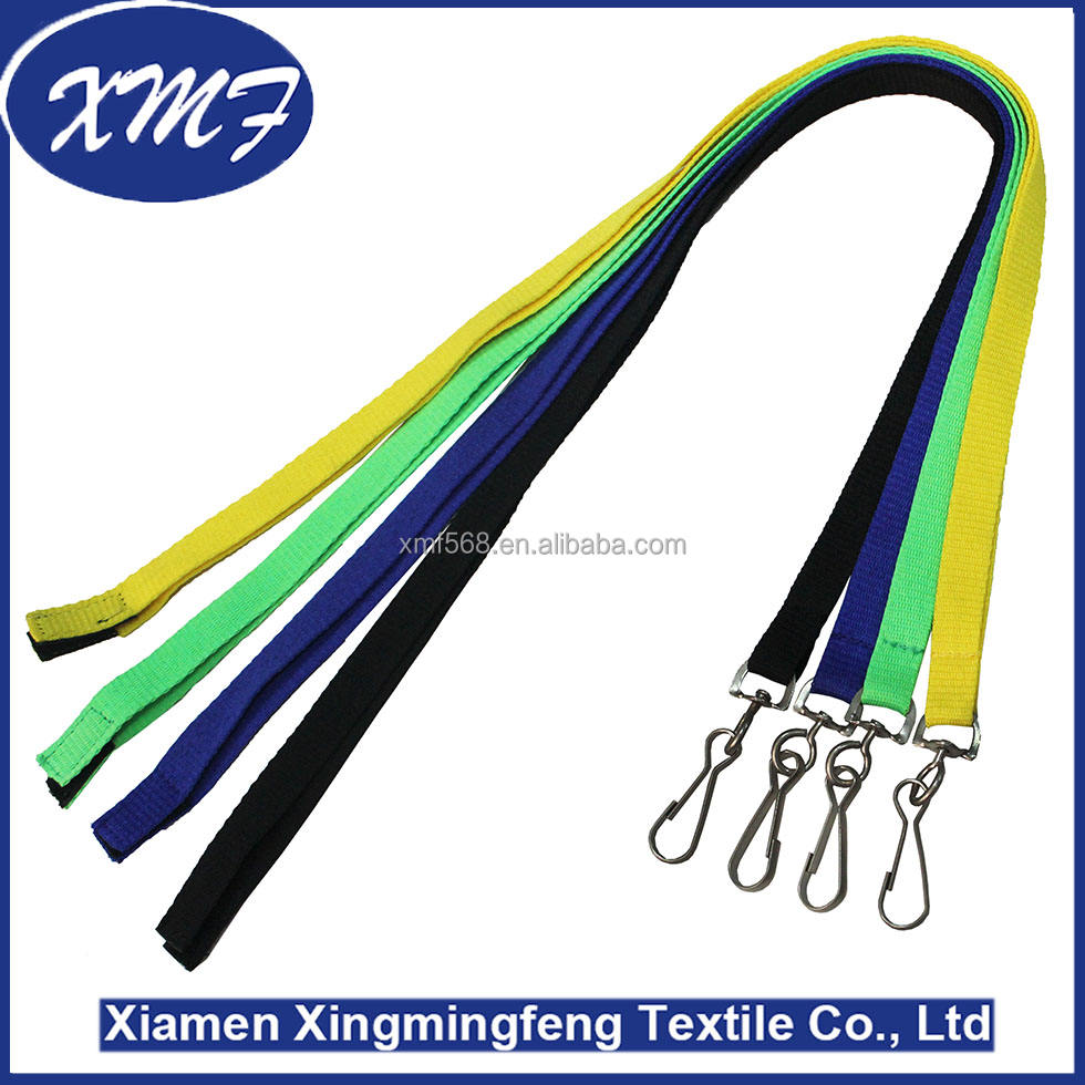 fluorescent green black yellow High Quality colorful lanyards with fastener