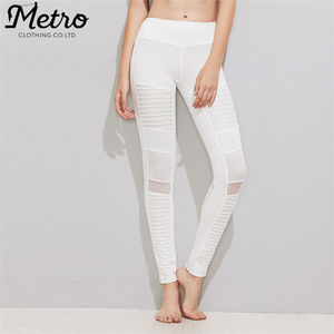 Commercio all'ingrosso donna mesh bianco collant a compressione leggings yoga