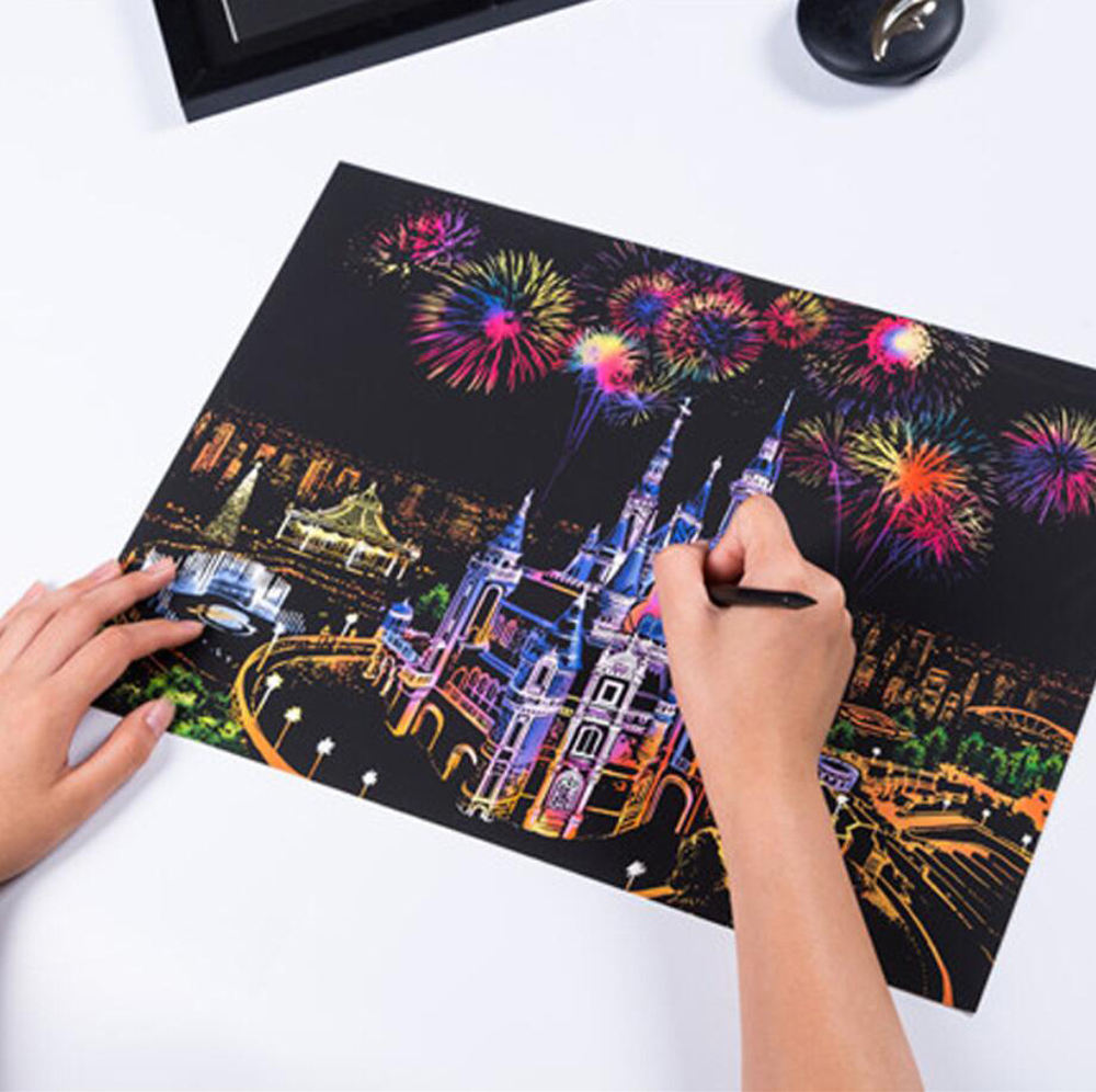 Stock 39 Designs Newest Rainbow City Night Landscape Painting Sketch Pad Handmade Art Color Changing Magic Scratch Art Paper