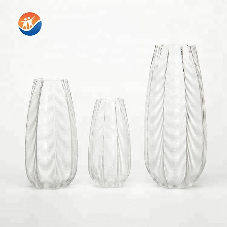 wholesale factory Horizontal stripes clear glass flower vase for decoration