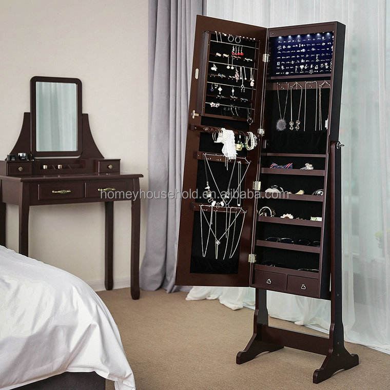 Wooden furniture jewelry mirror cabinet bedroom furniturre armoire