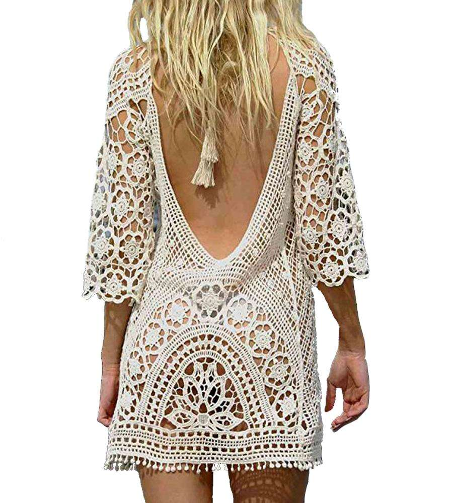 Beach Cover Up Women Cotton Lace Beachwear Dress Short Ladies Sexy Crochet Summer Backless Swimsuit Tunic Bikini Cover Ups