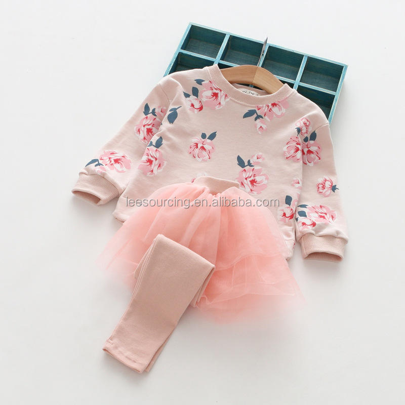 Leesourcing Autumn new style flower printing tops and tutu culotte girls boutique clothing set