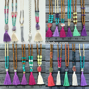Wholesale Colored Gemstone and Wood Beaded Sweater Tassel Necklace