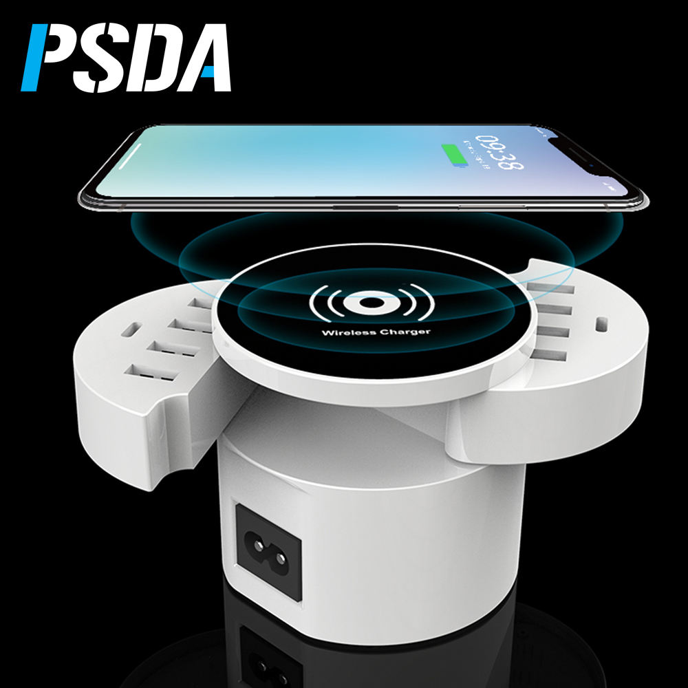 QI Wireless Charger Foldable Smart 8 Ports USB Type C Charger Station HUB EU US UK Plug Power Adapter Socket Strip Phone Charger