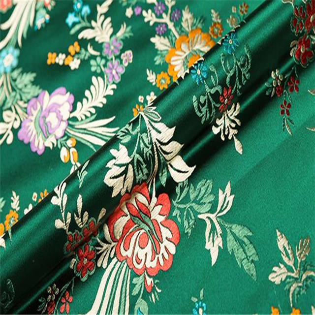 Begonia Flower Jacquard Brocade Polyester Fabric for Apparel