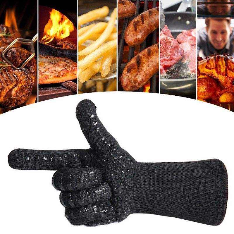 Silicone Oven Mitts, Pot Holder for Cooking, Baking, Barbeque (BBQ), Smoking, Heat Resistant ( Up to 932F ) Kitchen Gloves
