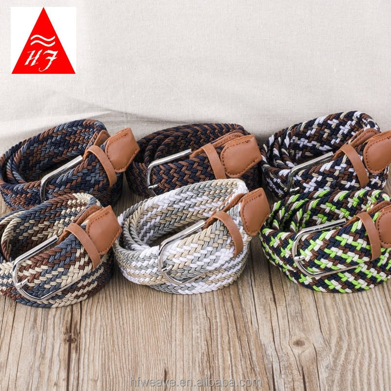 Fashion colourful unisex metal buckle woven stretch waist belt