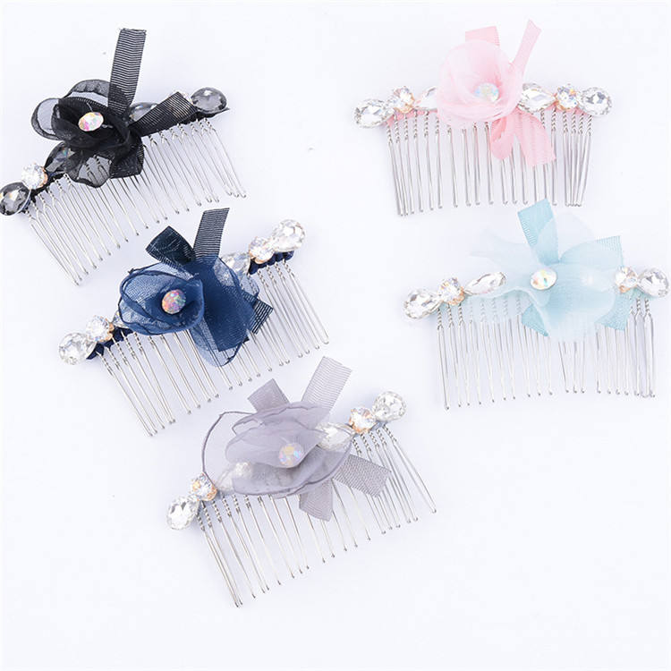 High Quality Alloy Lace Bowknot Rhinestone Hair Comb For Women Hair Accessories