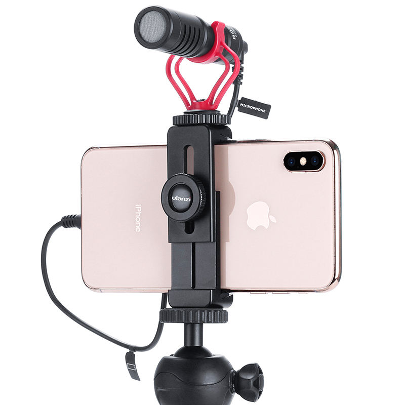 Ulanzi ST-02L Quick Release Phone Tripod Mount With Cold Shoe Metal Mobile Phone Bracket Holder Clip Clamp for Smart Phones