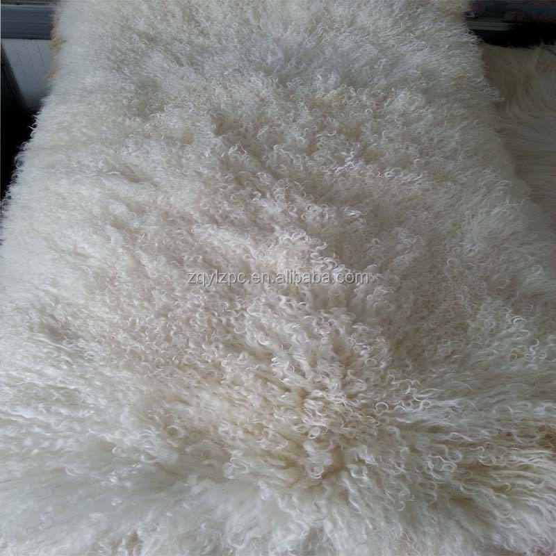 ALICEFUR China factory supply mongolian curly hair sheepskin blanket for sale