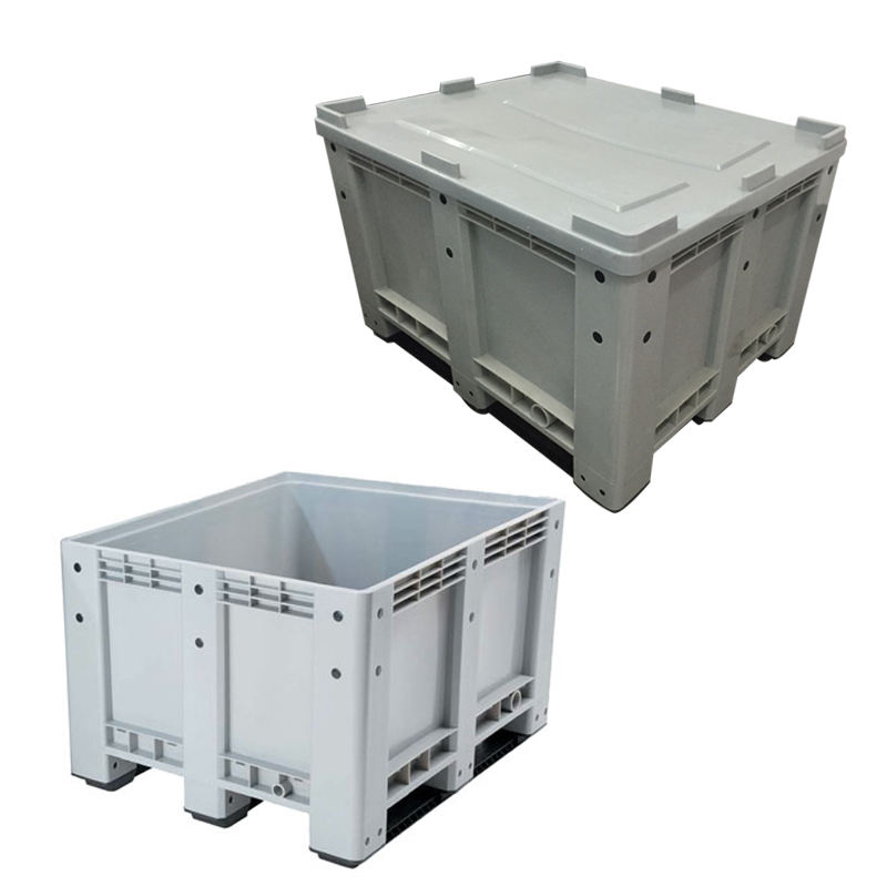 600L heavy duty hdpe solid logistic storage nally mega plastic pallet bin with lid