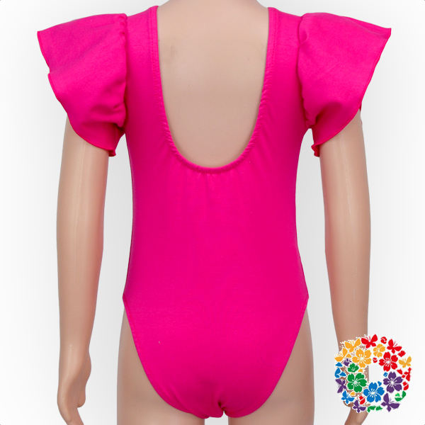 Hot Pink Kids Flutter Sleeve Leotard Decolletage Girls Leotard Rompers Wholesale Baby Leotards Summer Clothes