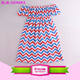 Wholesale gorgeous off shoulder chevron tunic USA frock summer patriotic front tiered ruffle smocked off the shoulder dress