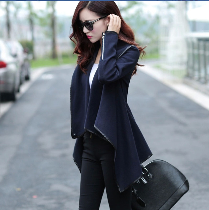 European Style Long Sleeve Irregular Cardigan Women Winter Cape Coat