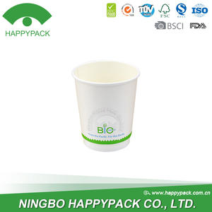 HAPPYPACK Custom Color Wholesale Disposable Holiday Double Wall Cup 8oz Hot Coffee PE or PLA coated Paper Cup Free Sample